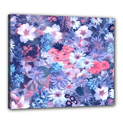 Spring Flowers Blue Canvas 24  X 20  (framed) by ImpressiveMoments