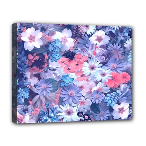 Spring Flowers Blue Deluxe Canvas 20  X 16  (framed) by ImpressiveMoments