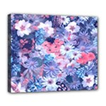Spring Flowers Blue Deluxe Canvas 24  x 20  (Framed)