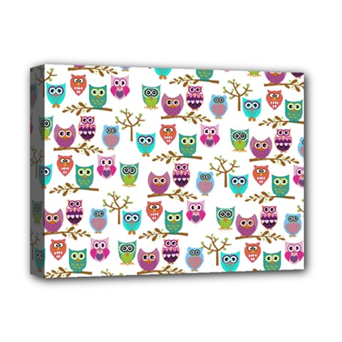 Happy Owls Deluxe Canvas 16  X 12  (framed)  by Ancello