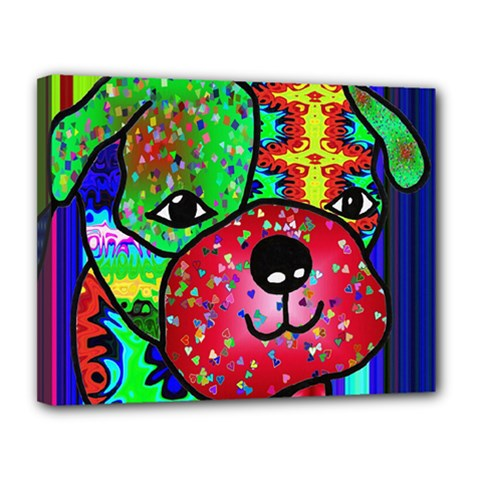 Pug Canvas 14  x 11  (Framed) by Siebenhuehner