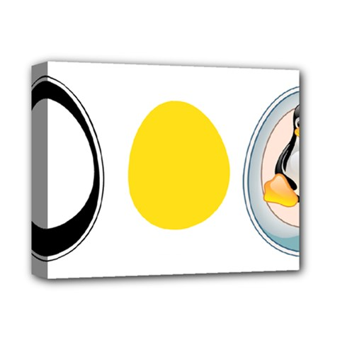 Linux Tux Penguin In The Egg Deluxe Canvas 14  X 11  (framed) by youshidesign