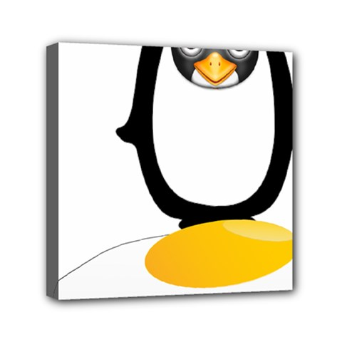 Linux Tux Pengion Oops Mini Canvas 6  X 6  (framed) by youshidesign