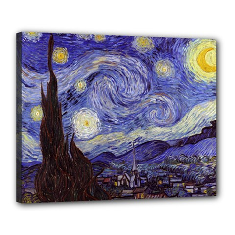 Vincent Van Gogh Starry Night Canvas 20  X 16  (framed) by MasterpiecesOfArt