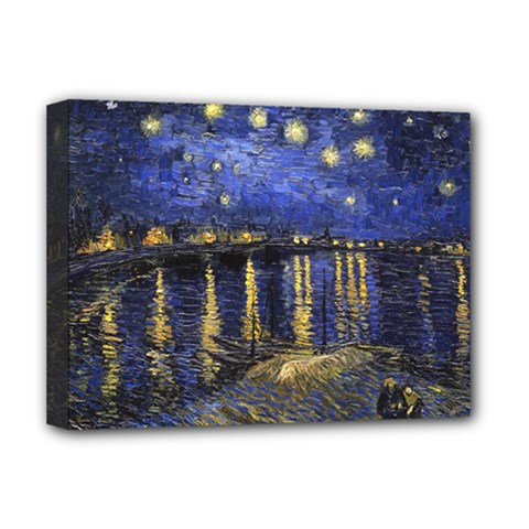 Vincent Van Gogh Starry Night Over The Rhone Deluxe Canvas 16  x 12  (Framed)  by MasterpiecesOfArt