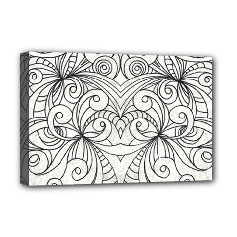 Drawing Floral Doodle 1 Deluxe Canvas 18  X 12  (framed) by MedusArt