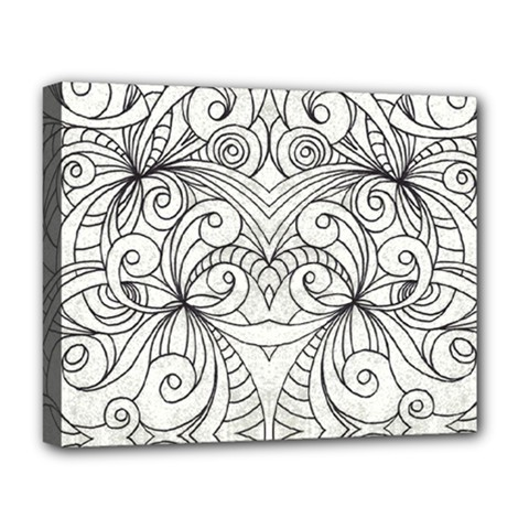 Drawing Floral Doodle 1 Deluxe Canvas 20  X 16  (framed) by MedusArt