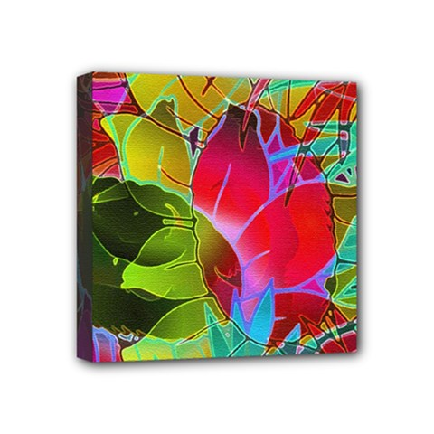 Floral Abstract 1 Mini Canvas 4  X 4  (framed) by MedusArt