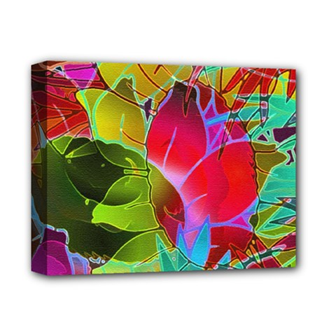 Floral Abstract 1 Deluxe Canvas 14  x 11  (Framed) by MedusArt