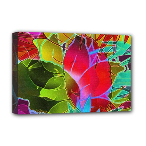 Floral Abstract 1 Deluxe Canvas 18  X 12  (framed) by MedusArt