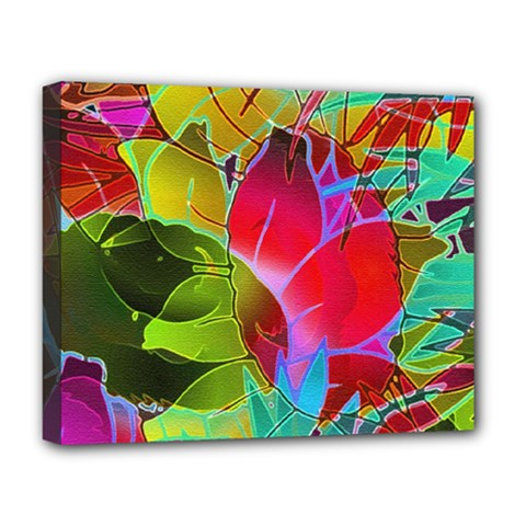 Floral Abstract 1 Deluxe Canvas 20  X 16  (framed) by MedusArt
