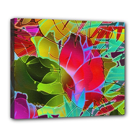 Floral Abstract 1 Deluxe Canvas 24  X 20  (framed) by MedusArt