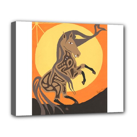 Embracing The Moon Deluxe Canvas 20  X 16  (framed) by twoaboriginalart