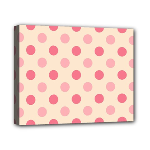 Pale Pink Polka Dots Canvas 10  X 8  (framed) by Colorfulart23