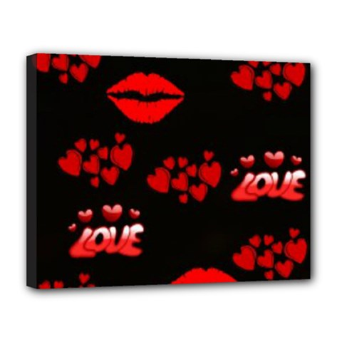 Love Red Hearts Love Flowers Art Canvas 14  X 11  (framed) by Colorfulart23