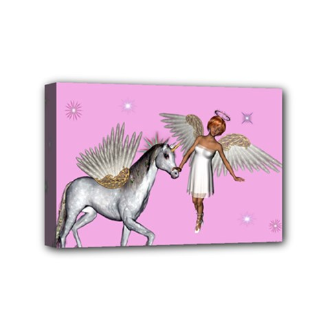 Unicorn And Fairy In A Grass Field And Sparkles Mini Canvas 6  X 4  (framed) by goldenjackal