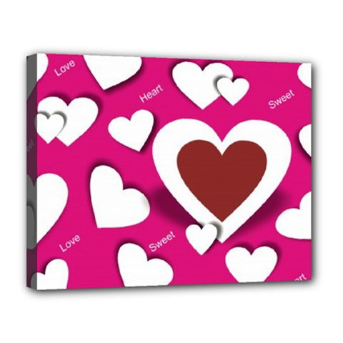 Valentine Hearts  Canvas 14  X 11  (framed) by Colorfulart23