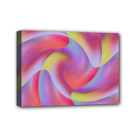 Colored Swirls Mini Canvas 7  X 5  (framed) by Colorfulart23