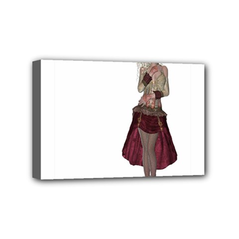 Steampunk Style Girl Wearing Red Dress Mini Canvas 6  X 4  (framed) by goldenjackal