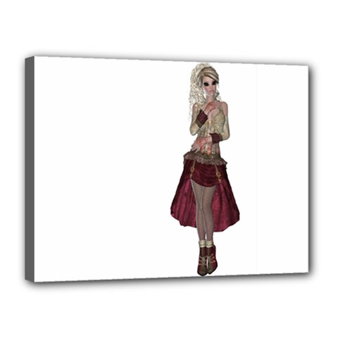 Steampunk Style Girl Wearing Red Dress Canvas 16  X 12  (framed) by goldenjackal