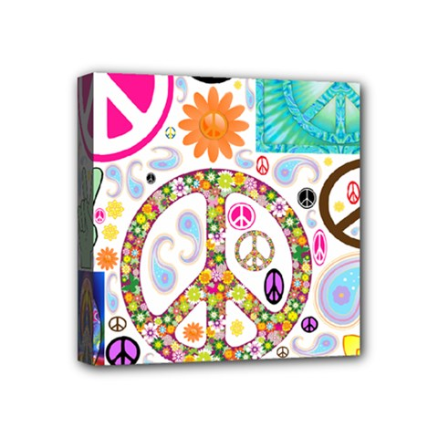 Peace Collage Mini Canvas 4  X 4  (framed)