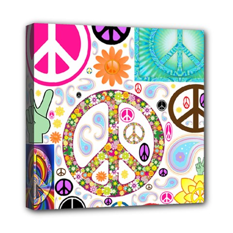 Peace Collage Mini Canvas 8  X 8  (framed) by StuffOrSomething