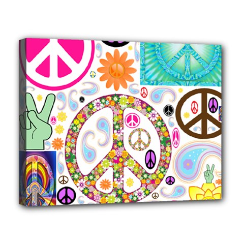 Peace Collage Canvas 14  x 11  (Framed) by StuffOrSomething
