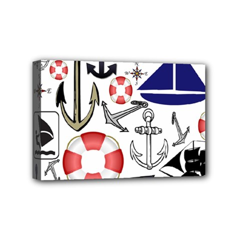 Nautical Collage Mini Canvas 6  X 4  (framed) by StuffOrSomething