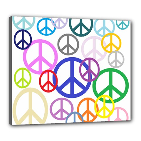 Peace Sign Collage Png Canvas 24  X 20  (framed) by StuffOrSomething