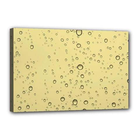 Yellow Water Droplets Canvas 18  X 12  (framed) by Colorfulart23