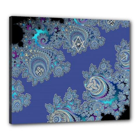 Blue Metallic Celtic Fractal Canvas 24  X 20  (framed) by UROCKtheWorldDesign