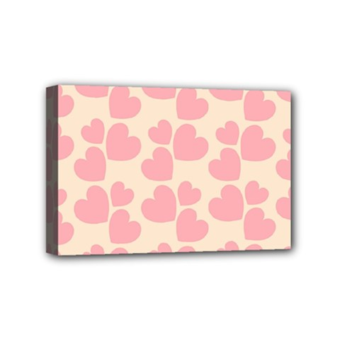 Cream And Salmon Hearts Mini Canvas 6  X 4  (framed) by Colorfulart23