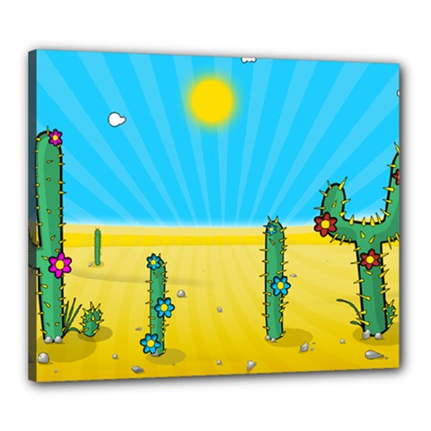 Cactus Canvas 24  X 20  (framed) by NickGreenaway