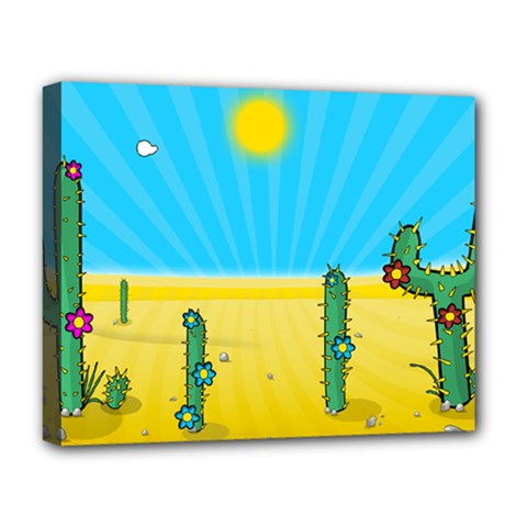 Cactus Deluxe Canvas 20  X 16  (framed) by NickGreenaway