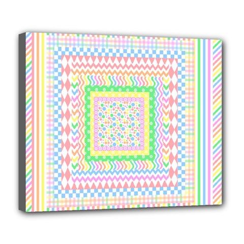 Layered Pastels Deluxe Canvas 24  X 20  (framed) by StuffOrSomething