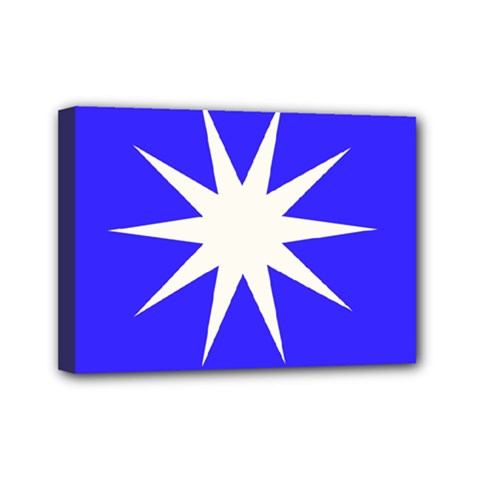 Deep Blue And White Star Mini Canvas 7  X 5  (framed) by Colorfulart23