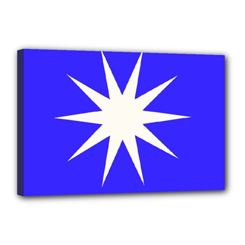 Deep Blue And White Star Canvas 18  X 12  (framed) by Colorfulart23