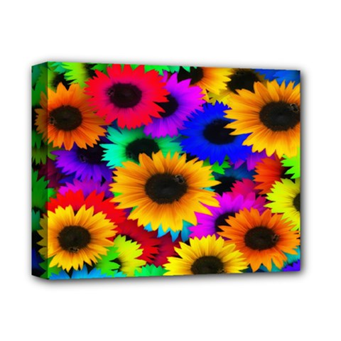 Colorful Sunflowers Deluxe Canvas 14  X 11  (framed) by StuffOrSomething