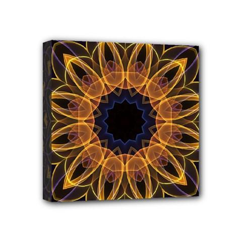 Yellow Purple Lotus Mandala Mini Canvas 4  X 4  (framed) by Zandiepants