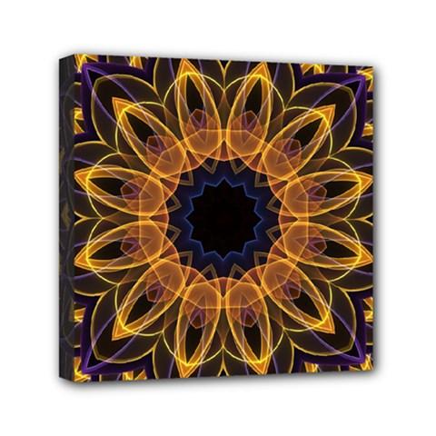 Yellow Purple Lotus Mandala Mini Canvas 6  x 6  (Framed) by Zandiepants