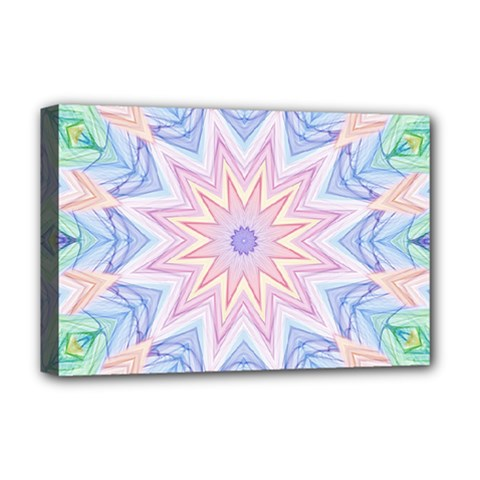 Soft Rainbow Star Mandala Deluxe Canvas 18  X 12  (framed) by Zandiepants