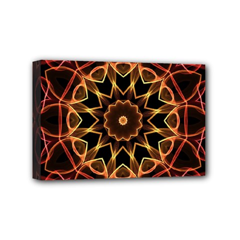 Yellow And Red Mandala Mini Canvas 6  x 4  (Framed)