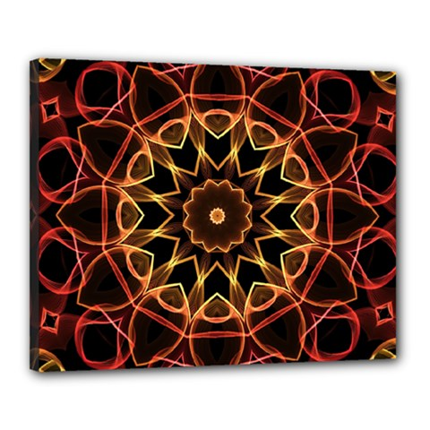 Yellow And Red Mandala Canvas 20  X 16  (framed) by Zandiepants
