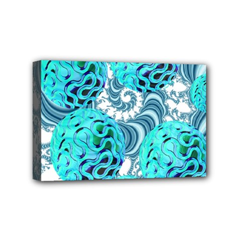 Teal Sea Forest, Abstract Underwater Ocean Mini Canvas 6  X 4  (framed) by DianeClancy