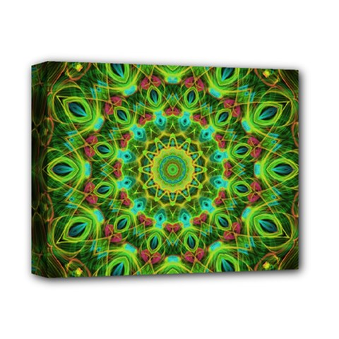 Peacock Feathers Mandala Deluxe Canvas 14  x 11  (Framed) by Zandiepants