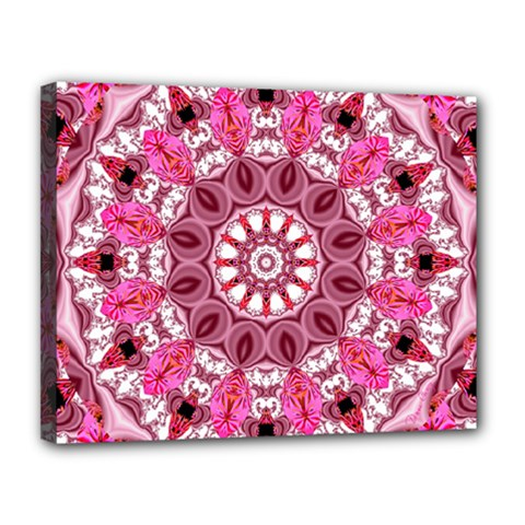 Twirling Pink, Abstract Candy Lace Jewels Mandala  Canvas 14  X 11  (framed) by DianeClancy