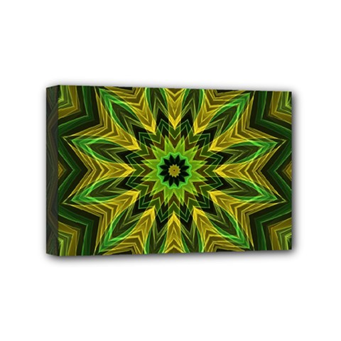 Woven Jungle Leaves Mandala Mini Canvas 6  x 4  (Framed) by Zandiepants