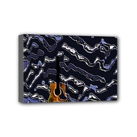 Sound Waves Mini Canvas 6  x 4  (Framed) by Rbrendes