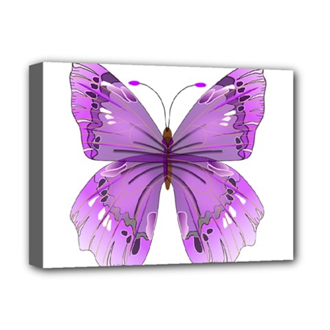 Purple Awareness Butterfly Deluxe Canvas 16  X 12  (framed)  by FunWithFibro