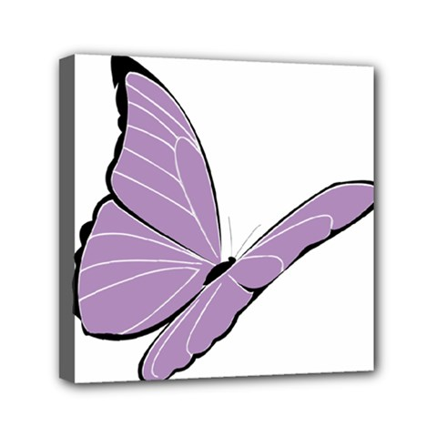 Purple Awareness Butterfly 2 Mini Canvas 6  X 6  (framed) by FunWithFibro